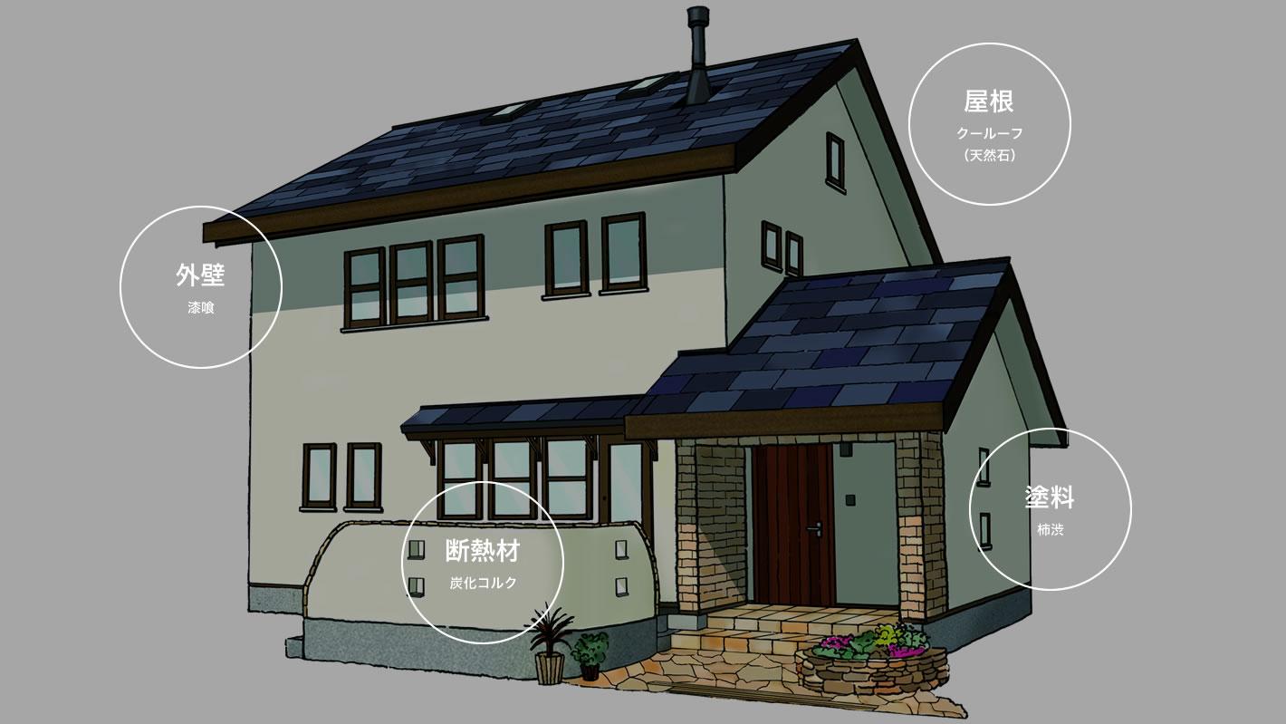写真:家、外壁(漆喰)、屋根 クールーフ(天然石)、断熱材(炭化コルク)、塗料(柿渋)
